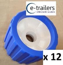 12 x BOAT TRAILER BLUE WOBBLE ROLLER 26mm bore NON MARKING SUPERB QUALITY