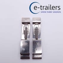 2 Oblong Number Plate Spring Bracket Clips-Trailers & Horseboxes stainless steel