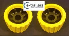 2x EXTREME BOAT TRAILER YELLOW BLACK WOBBLE ROLLERS 26mm BORE NON MARKING SUPERB QUALITY