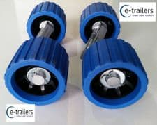 4 x BLUE BLACK WOBBLE ROLLERS ON 2 ALLOY WING BRACKETS - FITS EXTREME TRAILERS