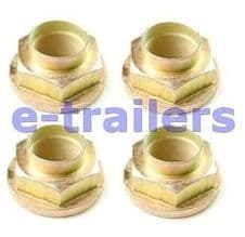 4 x TRAILER HUB NUTS M30 (46mm SOCKET) WITH FLANGE-FOR IFOR WILLIAMS AFTER 1994