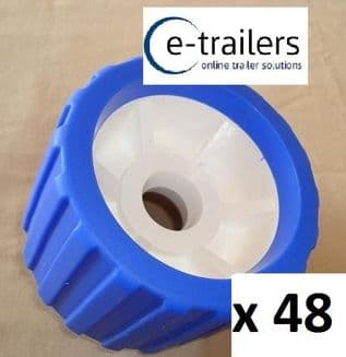 48 x BOAT TRAILER BLUE WOBBLE ROLLER 26mm bore NON MARKING SUPERB QUALITY