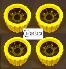 4x EXTREME BOAT TRAILER YELLOW BLACK WOBBLE ROLLERS 26mm BORE NON MARKING SUPERB QUALITY