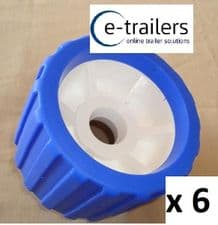 6 x BOAT TRAILER BLUE WOBBLE ROLLER 26mm bore NON MARKING SUPERB QUALITY