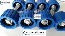 8 x BLUE BLACK WOBBLE ROLLERS ON 4 ALLOY WING BRACKETS - FITS EXTREME TRAILERS
