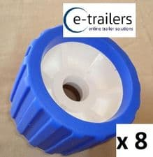 8 x BOAT TRAILER BLUE WOBBLE ROLLER 26mm bore NON MARKING SUPERB QUALITY
