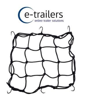 Elasticated Luggage Retaining Net with 6 clips for cargo retention or to cover trailer or motorcycle helmet