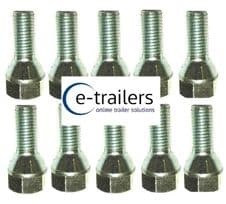 M12 TRAILER WHEEL BOLT 1.5 CONICAL REPLACE F1830ZPK IFOR WILLIAMS 19mm HEAD x 10