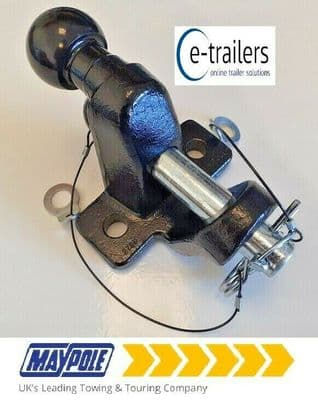 Maypole MP87 3500kg Heavy Duty 50mm Tow Ball & 25mm Pin Hitch - E11 Rated -Black