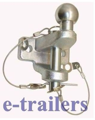 Superb Dual Tow Hitch Extended Ball 3500kg 50mm Ball & 25mm Tow Pin E11 Rated 445