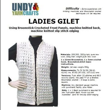 Ladies gilet using Broomstick lace