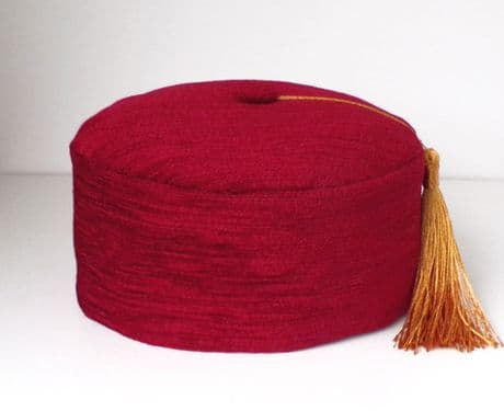 Burgundy Red Chenille Smoking Hat With Tassel