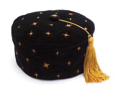 Embroidered  black velvet Smoking cap Gold Stars