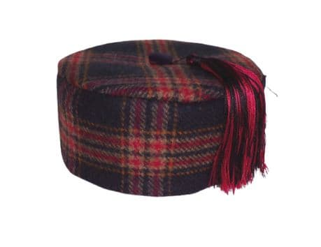 Wool Check Smoking Cap Navy Blue Red