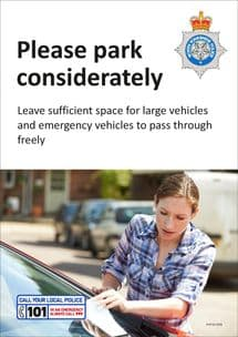 NYP18-0056 - Poster: Park considerately (Large & emergency vehicle access)