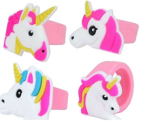 Unicorn Rubber Ring X4 Assortment Party Bag Fillers