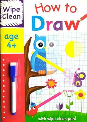 Wipe Clean HOW TO DRAW Book with PEN