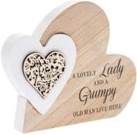 'A Lovely Lady And A Grumpy Old Man Live Here' Heart Within A Heart Free Standing Or Hanging Sign...