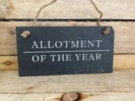 'Allotment Of The Year' Slate Hanging Sign Gift For Gardeners