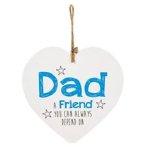 'Dad A Friend You Can Always Depend On' Ceramic Heart Shaped Hanging Sign...