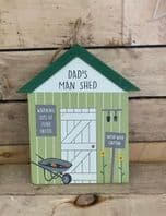 'Dad's Man Shed' Wooden Shed Shaped Sign Gift For Dad...