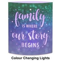 'Family Is where Our Story Begins' Light Up Colour Changing Lantern....