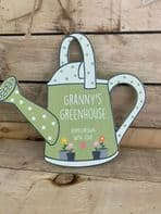 'Granny's Greenhouse Home Grown With Love' Watering Can shaped Wooden Sign Gift For Grandma....