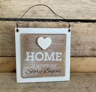'Home Is Where Our Story Begins' Small Wooden Hanging Sign Great House Warming Gift...