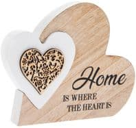 'Home Is Where The Heart Is' Heart In A Heart Wooden Free Standing Or Hanging Sign ....