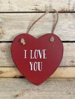 'I LOVE YOU' LARGE HEART SHAPED WOODEN SHABBY CHIC SIGN GREAT VALENTINES GIFT