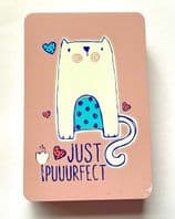 'Just Puuurfect' Chunky Wooden Free Standing Cat Sign. Great Gift For Cat Lovers...