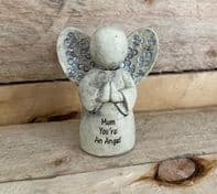 'Mum You're An Angel' Ceramic Angel. Great Gift For Mum. 8cm High..
