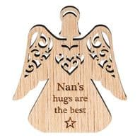 'Nans Hugs Are Best' Carved Wooden Angel Shaped Hanging Sign....