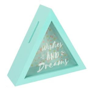 'Wishes And Dreams' Triangle Shaped Novelty Money Box..