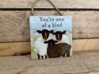 'You're One Of A Kind' Sheep Themed Wooden Hanging Sign.....