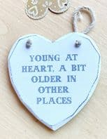 'Young At Heart, A Bit Older In Other Places' Wooden Hanging Sign....