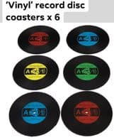 6 x 'Vinyl' 45 rpm Retro Disc Coasters  Great Gift For Music Lovers...