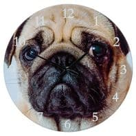 """BATTERY OPERATED PUG DOG FACE DESIGN WALL CLOCK 7"""" WIDE"""