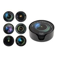 Camera Lens Glass Coasters x 6 Great Gift For Photographer.....