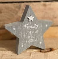 Chunky Wooden Grey Star 'Family Is The Heart Of All Happiness' ...