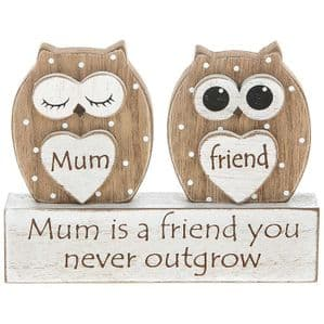 Dreamy Free Standing Wooden Owl 'Mum Is A Friend You Never Outgrow'