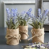 Lavender In Hessian Pot Imitation Plant 15cm High...