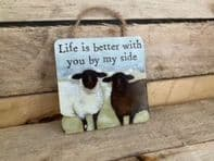 Life Is Better With You By My Side' Black And White Sheep Wooden Hanging Sign....