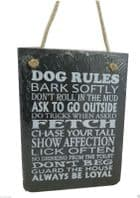 NEW IN BOX SLATE *DOG RULES BARK SOFTLY DONT ROLL IN MUD.. HANGING SIGN GIFT..