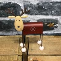 Really Cute Metal Wobbly Head Reindeer Christmas Decoration Red Or Green......