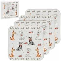 Set Of Four Easy Clean Dog Themed Coasters ....