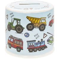 Trucks, Cars, Helicopters And more Decorated Ceramic Money Box....