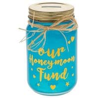 Turquoise Jar Money Box 'Our Honeymoon Fund' Wedding Gift Or For Couples.....