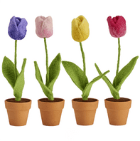 Unusual Felt Textile Tulip Flowers In A Pot. All Year Round Colour In Your Home...