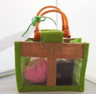 Ylang And Rose Bath Bomb Plus Slice Of Raspberry And Vanilla Hand Soap In Hessian Gift Bag....WAS £6